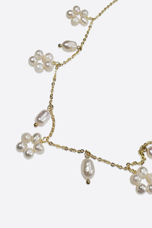 REAL PEARL FLOWER NECKLACE