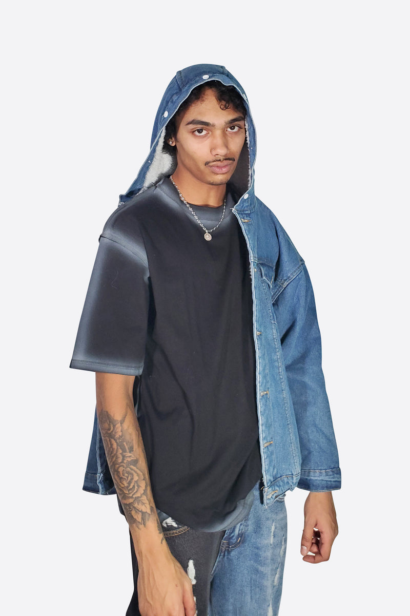 SPOOKY DENIM FLEECE JACKET