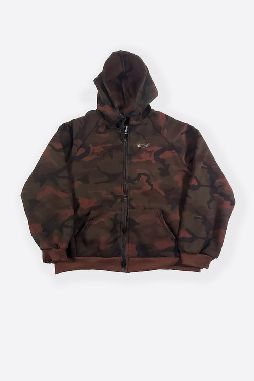 COLLEGE FAMOUS CAMO ZIP - BROWN