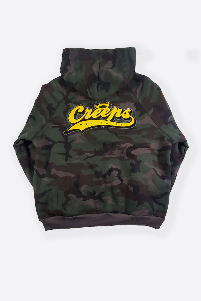 COLLEGE FAMOUS CAMO ZIP - ARMY GREEN