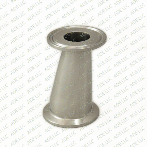 "Sanitary,Stainless 1.5"" Tri Clamp to 1.5"" Tri Clamp w/ 1"" Bore Eccentric Reducer"