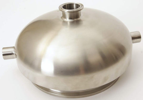 "Jacketed Bowl Reducer | Tri Clamp 12"" x 1.5"" with (2) Female NPT 1/2"""