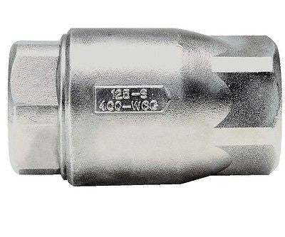 "Apollo Valves, 1 1/2"" Stainless Steel Ball-Cone, In Line Check Valve."
