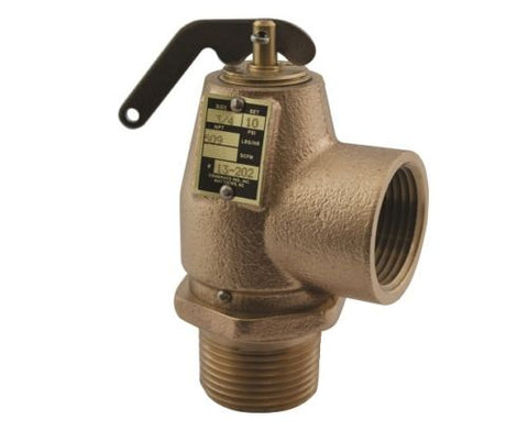 1 1/4 Male x 1 1/2 Female, ASME Low Pressure Steam Safety Valve Set 5 PSIG, Bronze