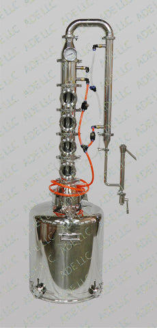 "26 Gal. Moonshine Still with 4"" Stainless Bubble Plate w/ Cooling kit"