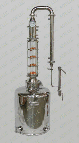 "26 Gallon Moonshine Still with 4"" Borosilicate Sight Glass 4 Plate Column"