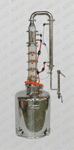 "26 Gallon Moonshine Still with 4"" Borosilicate Glass 4 Plate Column w/ Cooling"