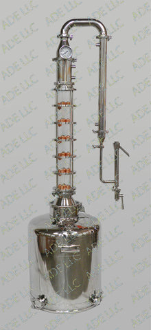 "26 Gallon Moonshine Still with 4"" Borosilicate Sight Glass 6 Plate Column"