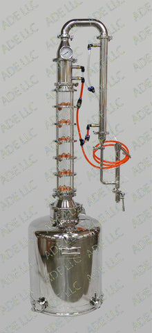 "26 Gallon Moonshine Still with 4"" Borosilicate Glass 6 Plate Column w/ Cooling"
