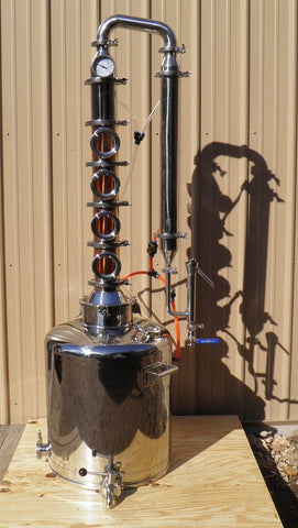26 Gal. Moonshine, E-85 Ethanol Still 4 Bubble Plate Copper & Stainless Column. Everything Included