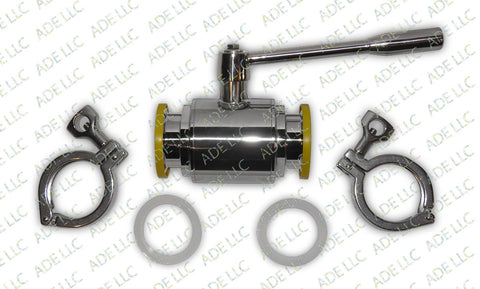 "2"" Ball Valve Kit with Silicone Gaskets and Tri Clamps for Moonshine Stills"