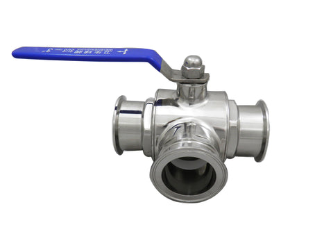 "3"" Tri Clamp with Three Way Ball Valve"