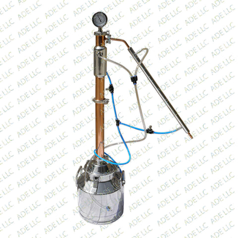"5 Gallon Still with 2"" Copper & Stainless Reflux Column, w/Cooling Kit"