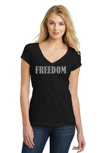 Freedom Deep V Neck Tee Junior Fit Black