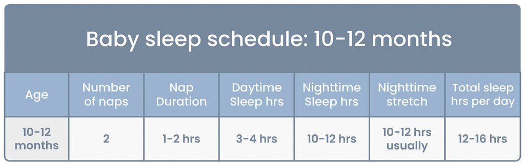 Baby Sleep Schedule Chart for ages 10 to 12 Months