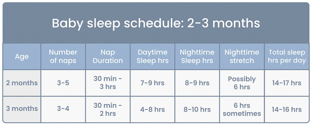 Baby Sleep Schedule Chart for ages 2 to 3 Months