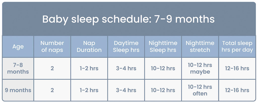 Baby Sleep Schedule Chart for ages 7 to 9 Months
