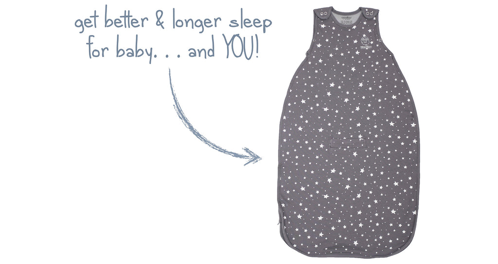 Product ad depicting The Woolino 4 Season Ultimate Baby Sleep Bag in Star Gray print. Get better and longer sleep for baby and you.
