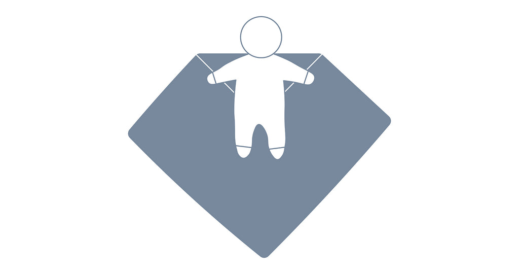 How to swaddle step 2 visual graphic to lay your baby face up on the blanket with his head above the folded corner.