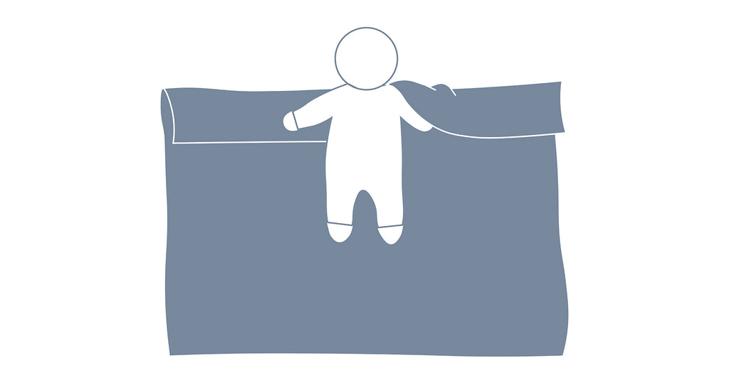 How to swaddle baby with arms up step 2 visual graphic showing baby lying on blanket with shoulders in line with the fold and one hand placed under the fold.