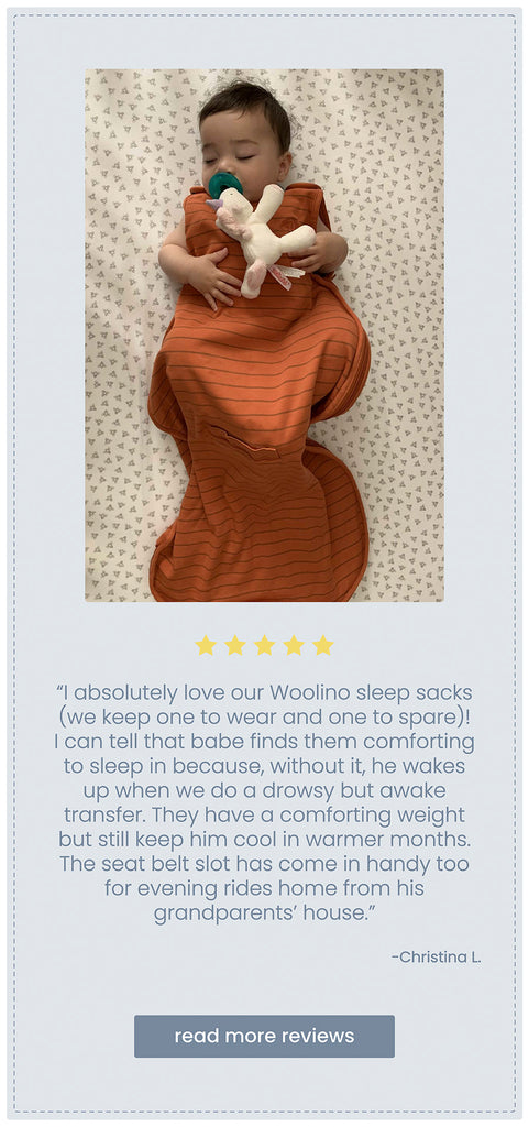 Woolino five star customer review with photo of baby in a Woolino 4 season ultimate baby sleep bag.