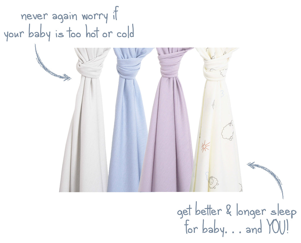 Woolino swaddle blanket ad promoting better & longer sleep for baby and you.