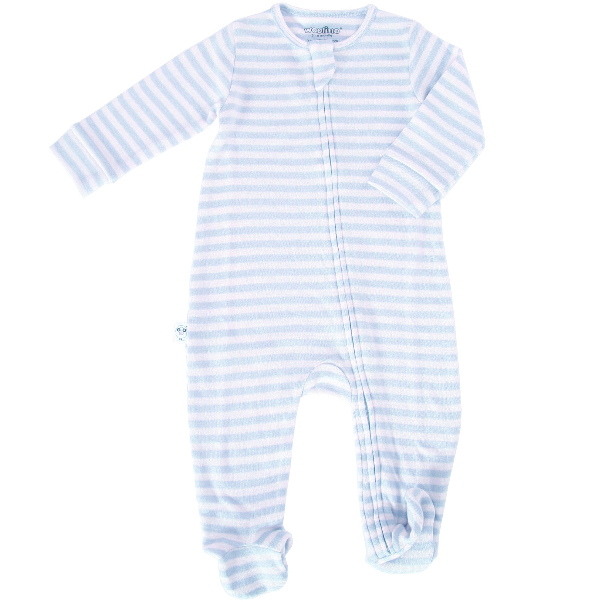 Footie Pajamas, Merino Wool, Blue