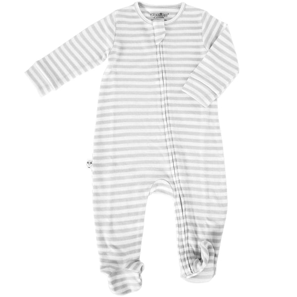 Footie Pajamas, Merino Wool, Gray