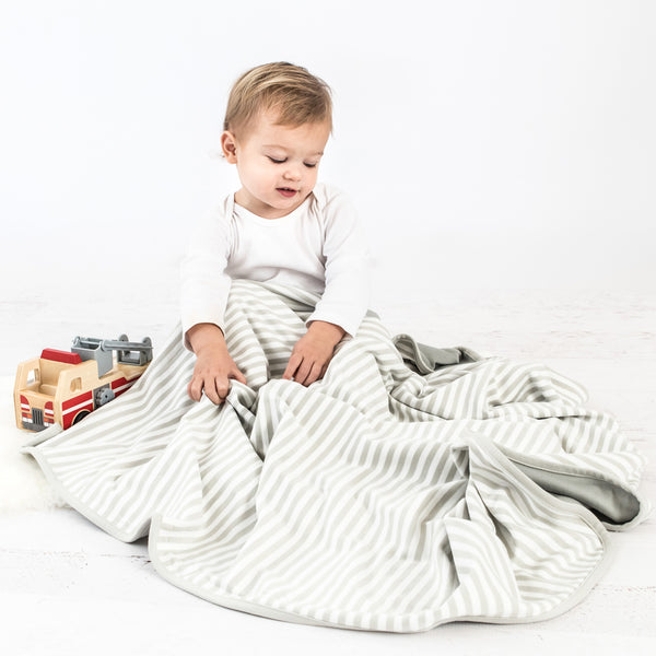 "Toddler Blanket, 4 Season Merino Wool Blanket, 52.5"" x 40"", Gray Stripes"