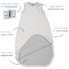 4 Season Basic Baby Sleeping Bag, Merino Wool, Gray