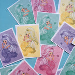 Handmade Mermaid Stickers - Set of 16 - Handmade Stickers, Stocking Stuffer, Vintage Style, Retro, Gifts for Her, Journal, Planner, Crafts