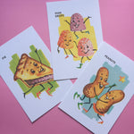Anthropomorphic Candy + Snack Art Prints - Set of 11 - Vintage Style, Retro, Kitsch, Handmade Print, Food Art, Kitchen Art, Home Decor