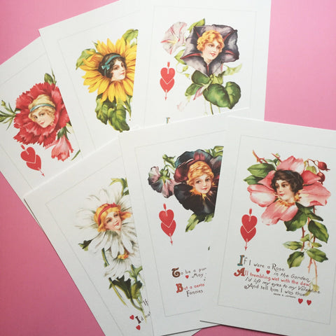Floral Ladies Prints - Set of 6 - Vintage Style, Kitsch, Reproductions, Handmade Print, Home Decor, Vintage Valentine, Valentine Print