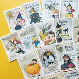 Halloween Stickers - Set of 18 - Handmade Stickers, Vintage Style, Vintage Halloween, Cute Planner Stickers, Cute Halloween, Vintage Witches