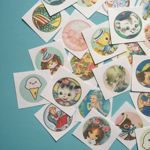 Cute Handmade Stickers - Random Set of 50 - Stocking Stuffer, Vintage Style, Retro, Kitsch, Journal, Planner, Cute Animals, Cute Children