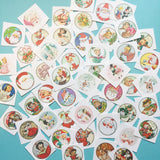Cute Christmas Stickers - Random Set of 50 - Stocking Stuffer, Vintage Style, Retro, Kitsch, Journal, Planner Stickers, Vintage Christmas
