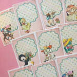 Animal Stickers - Set of 18 - Handmade Stickers, Vintage Style, Vintage Animals, Cute Planner Stickers, Cute Animals, Animal Party Stickers