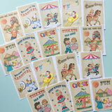Circus Stickers - Set of 18 - Handmade Stickers, Vintage Style, Vintage Circus, Cute Planner Stickers, Cute Circus, Birthday Stickers