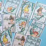Mermaid Stickers - Set of 18 - Handmade Stickers, Vintage Style, Vintage Mermaids, Cute Planner Stickers, Cute Mermaid, Kitsch Mermaids