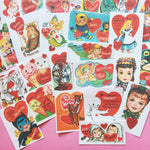 Valentines Stickers - Set of 28 - Handmade Stickers, Vintage Style, Vintage Valentines, Journal, Planner Stickers, Cute Valentines, Kitsch