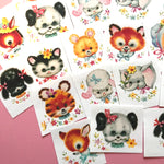 Cute Animal Stickers - Set of 24 - Handmade Stickers, Vintage Style, Vintage Animals, Stickers for Children, Planner Stickers, Cute Animals