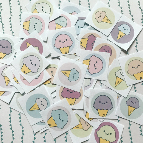Ice Cream Stickers - Assorted Set of 48 - Stocking Stuffer, Vintage Style, Retro, Kitsch, Journal, Planner, Cute Stickers, Kawaii Stickers