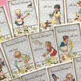 Bookplate Stickers - Set of 18 - Handmade Stickers, Vintage Style, Vintage School, Cute Planner Stickers, Cute Children, From the Library Of