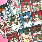 Snowman Stickers - Set of 18 - Handmade Stickers, Vintage Christmas, Planner Stickers, Cute Christmas, Holiday Stickers, Vintage Snowman