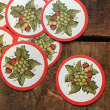 Vintage Paper Coasters - Grapes and Strawberries - Set of 12 - Vintage Coasters, Fruit Coasters, Vintage Kitchen, Party Coasters