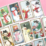 Snowman Stickers - Set of 24 - Handmade Stickers, Vintage Christmas, Cute Planner Stickers, Cute Christmas, Holiday Stickers, Snowmen
