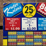 Vintage Punch Board -  Kuter Kolors - Unused Punch Board, Vintage Punchboard, Gambling Game, Lottery Game, Game of Chance, Vintage Decor