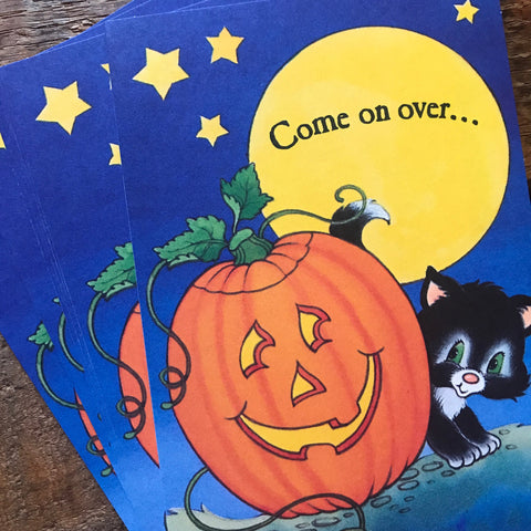 Vintage Halloween Invitations - Set of 8 - Cute Kitten Cards, Halloween Party, American Greetings Cards, Unused Invitations, Halloween Cards