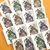 Vintage Halloween Stickers - Set of 16 - Handmade Stickers, Vintage Style, Vintage Halloween, Cute Witches, Planner Stickers, Cute Halloween