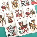 Deer Stickers - Set of 16 - Handmade Stickers, Vintage Christmas, Cute Planner Stickers, Cute Christmas, Holiday Stickers, Vintage Deer